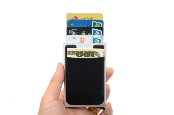 Aluminum Credit Card Case With Elasticity Back Pouch - 1