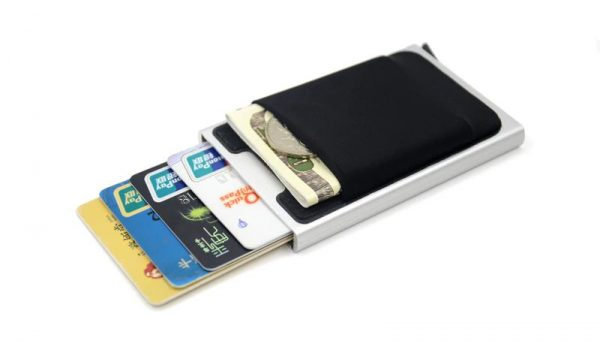 Aluminum Credit Card Case With Elasticity Back Pouch