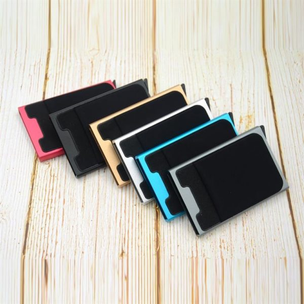 Aluminum Credit Card Case With Elasticity Back Pouch - Colours