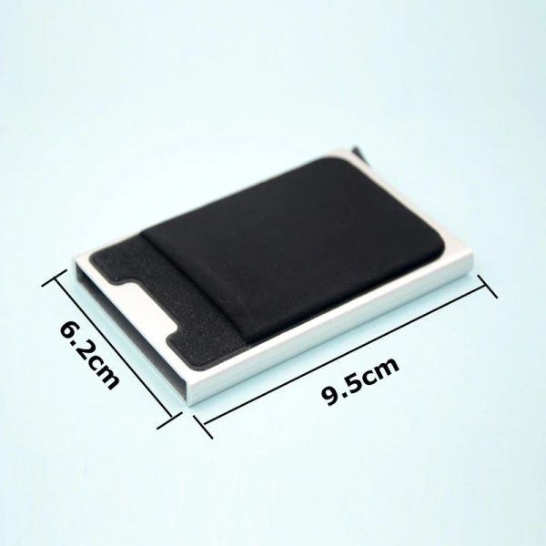 Aluminum Credit Card Case With Elasticity Back Pouch - Size