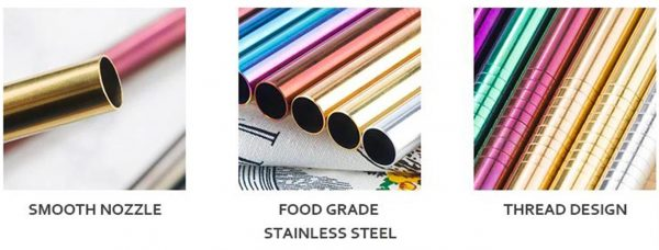 Colourful Reusable Stainless Steel Straws - 3