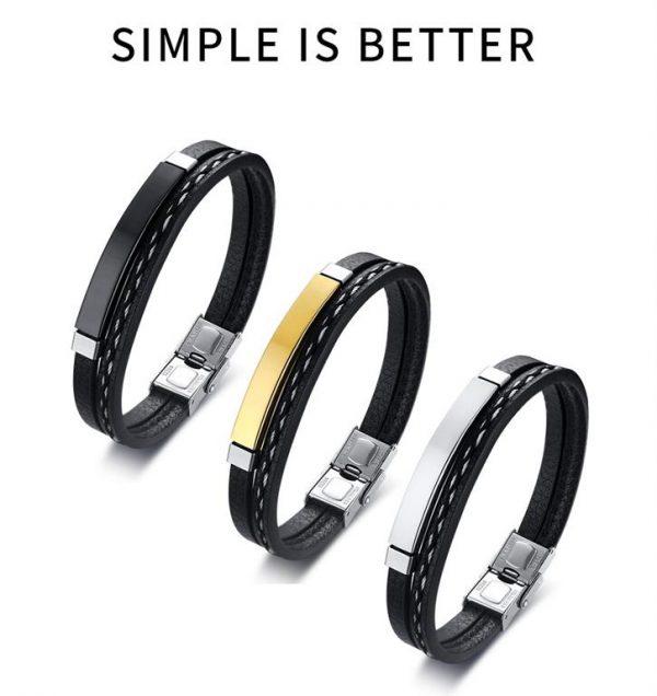 Customizable Leather Bracelets for Men - 1