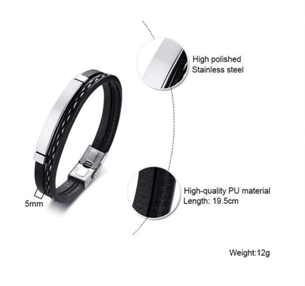 Customizable Leather Bracelets for Men - 4