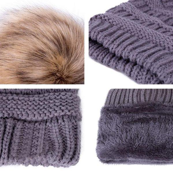 Knitted Pom Pom Winter Cap For Women - Details