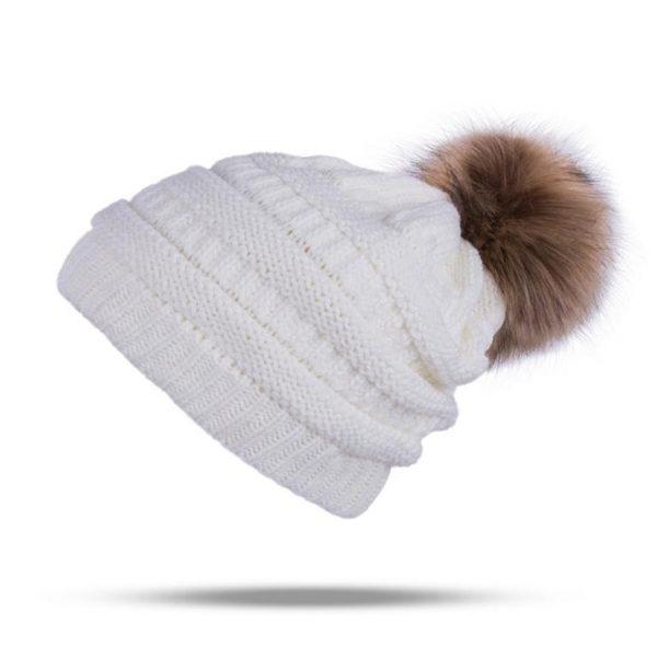 Knitted Pom Pom Winter Cap For Women - White