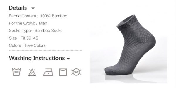 Men's Breathable Bamboo Fiber Business Socks - 5 pairs - Instructions