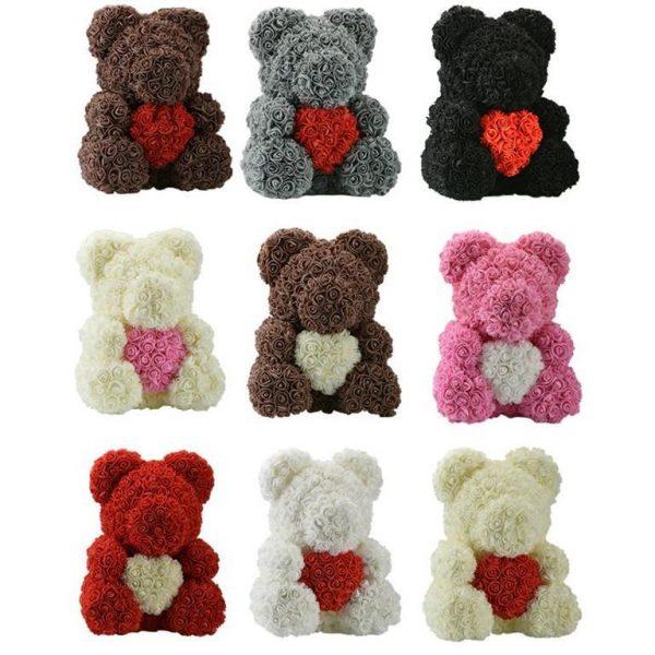Beautiful Rose Teddy Bear With Heart - Colour