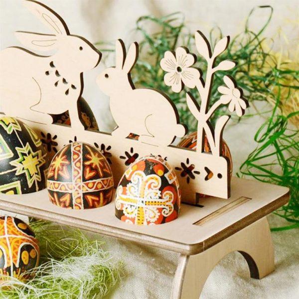 Decorative Wooden Easter Egg Holder - 2