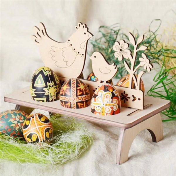 Decorative Wooden Easter Egg Holder - 3