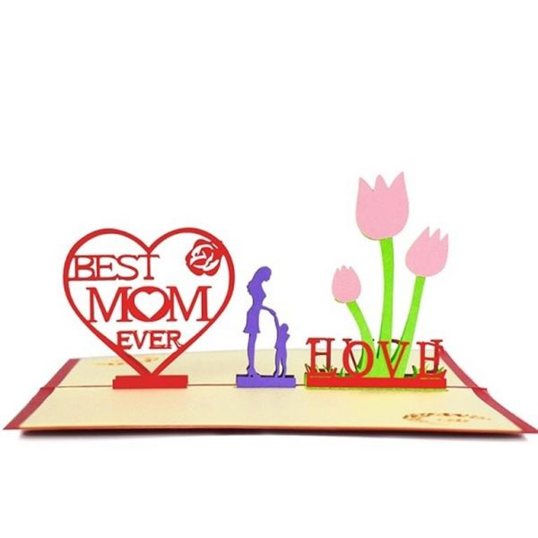 Mother's Day 3D Pop Up Cards - BEST MOM