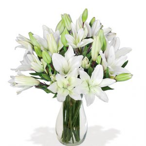White Classic Lily Bouquet Flower Delivery