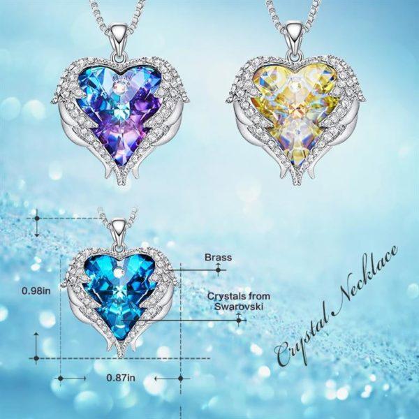 Crystal Angel Wings Pendant-Size