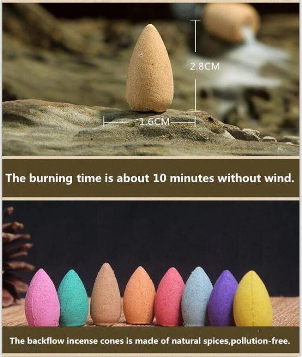 Natural Fragrant Incense Cones - 50PC - 3
