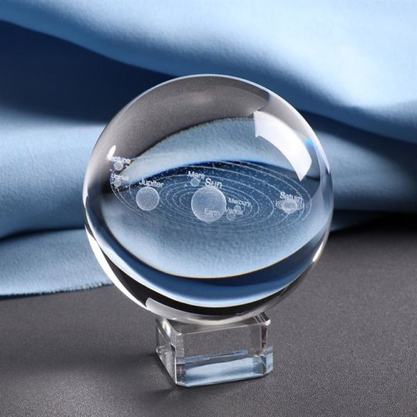 3D Laser Engraved Miniature Solar System Ball - Blue
