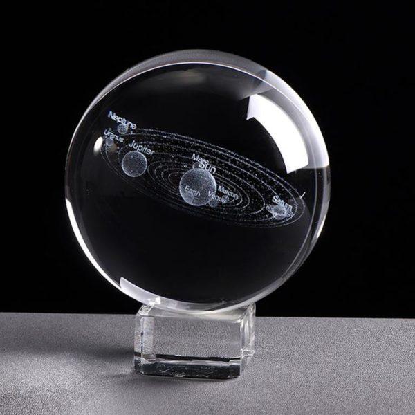 3D Laser Engraved Miniature Solar System Ball - Glass Base