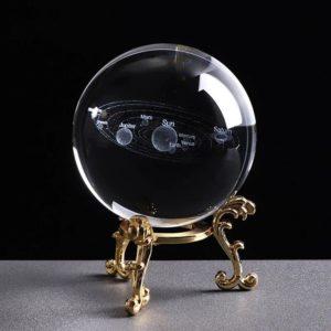 3D Laser Engraved Miniature Solar System Ball - Gold Base