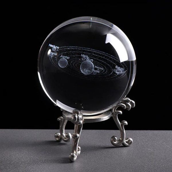 3D Laser Engraved Miniature Solar System Ball - Silver Base