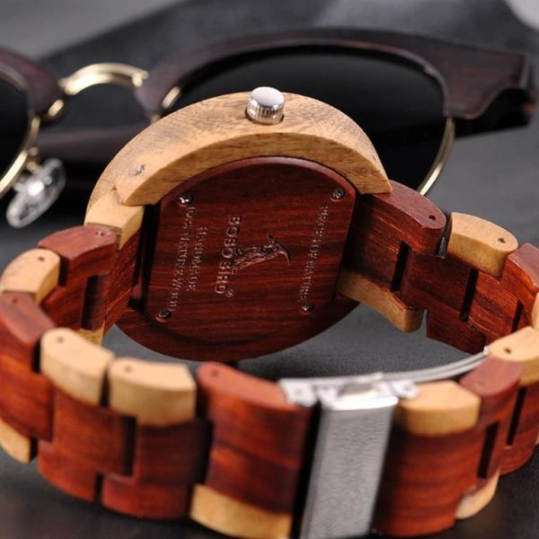 BOBO BIRD Wooden Watch With Dual Dials - Back
