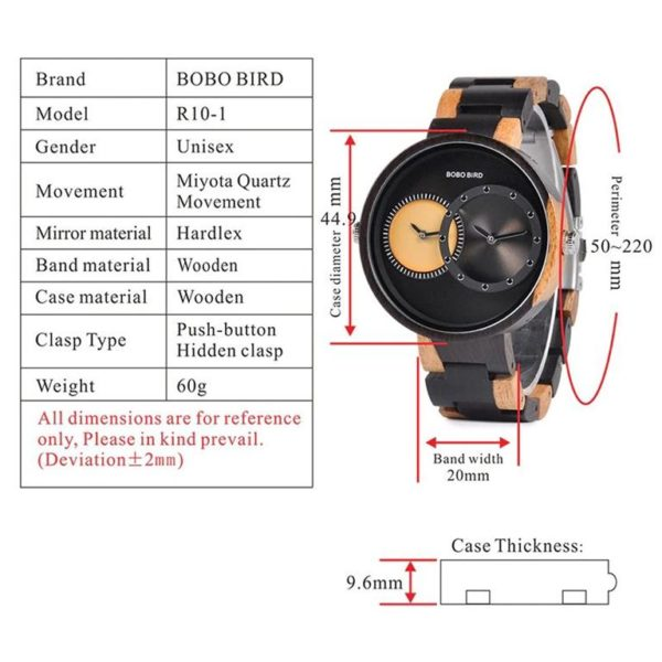 BOBO BIRD Wooden Watch With Dual Dials - Specifications