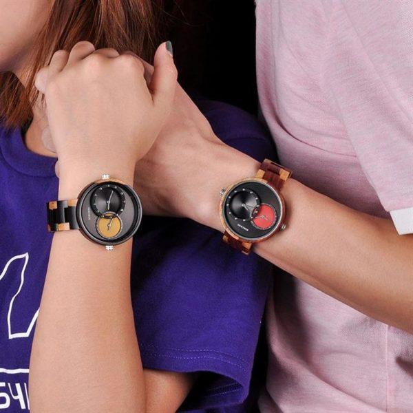BOBO BIRD Wooden Watch With Dual Dials - Unisex