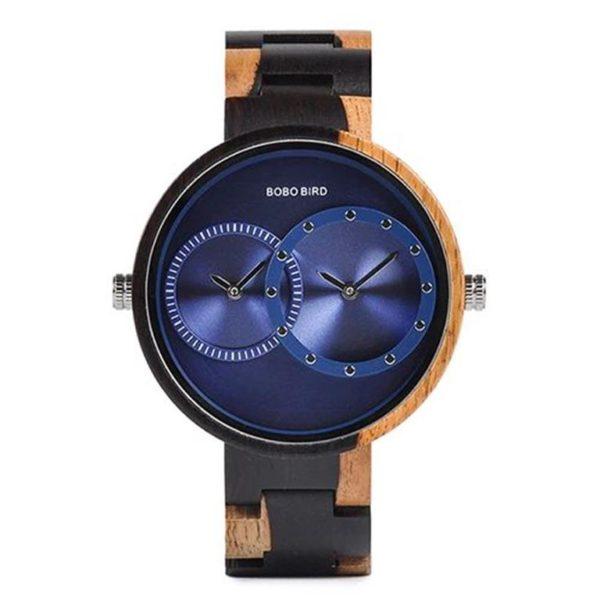 BOBO BIRD Wooden Watch With Dual Dials - Variation Blue