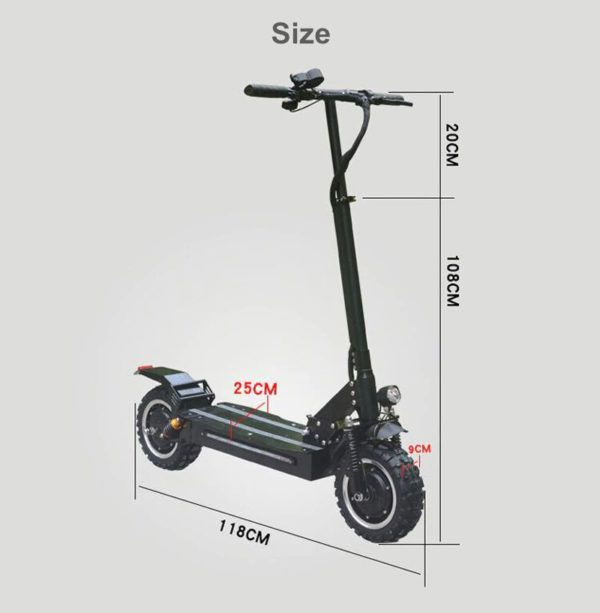 All Terrain Foldable Electric Scooter - Dimensions