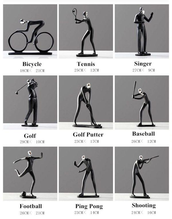 Modern Art Sportsman Figurines - Sizes