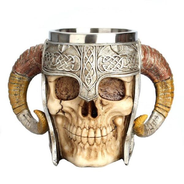 Stainless Steel Skull Horn Mug