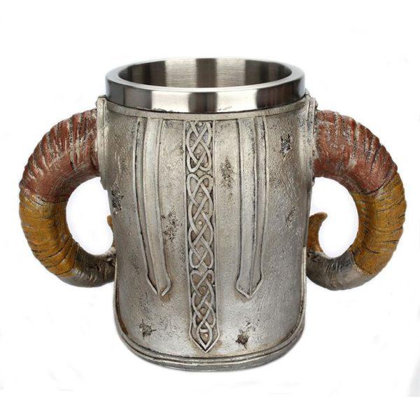 Stainless Steel Skull Horn Mug - Back
