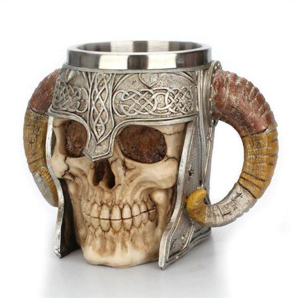 Stainless Steel Skull Horn Mug - Side 2