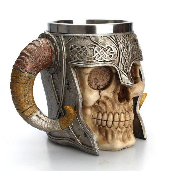 Stainless Steel Skull Horn Mug - Side