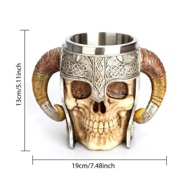 Stainless Steel Skull Horn Mug - Size