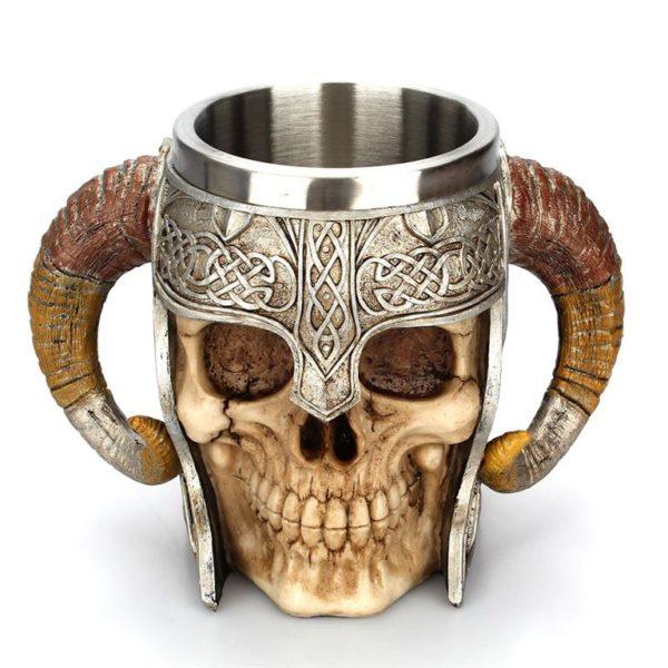Stainless Steel Skull Horn Mug - Top
