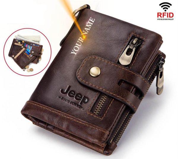 100% Genuine Leather Mens Wallet - Free Engraving