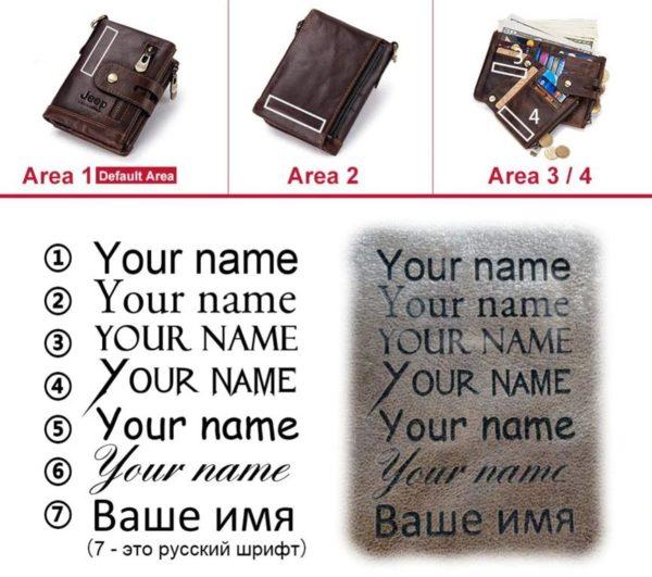 100% Genuine Leather Men Wallet - Free Engraving - Fonts