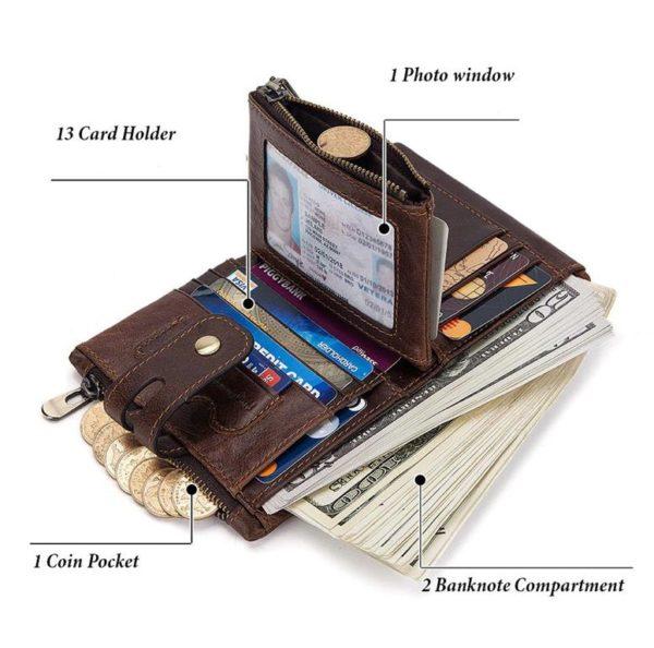 100% Genuine Leather Men Wallet - Free Engraving - Inside