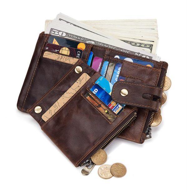 100% Genuine Leather Men Wallet - Free Engraving - cards
