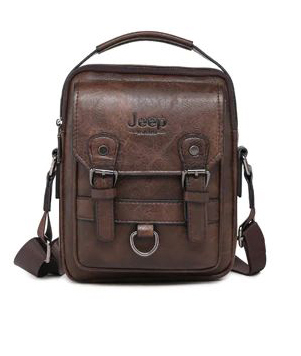 Crossbody Leather Shoulder Bag For Men - Brown
