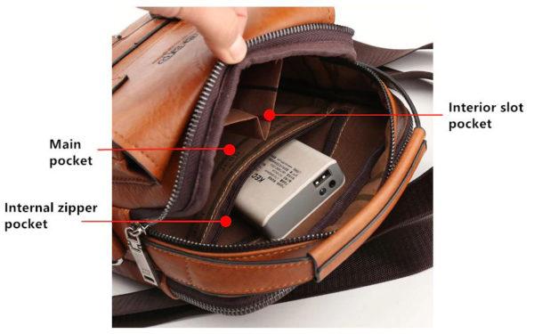 Crossbody Leather Shoulder Bag For Men - Contents