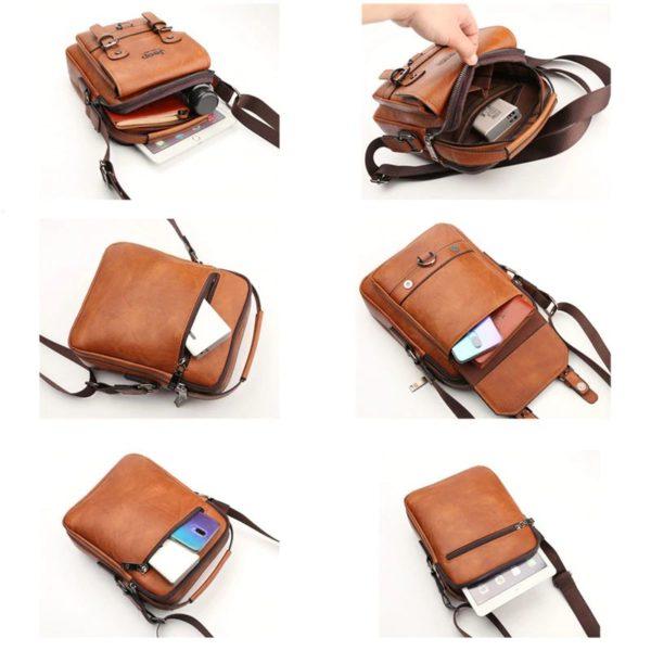 Crossbody Leather Shoulder Bag For Men - Interior