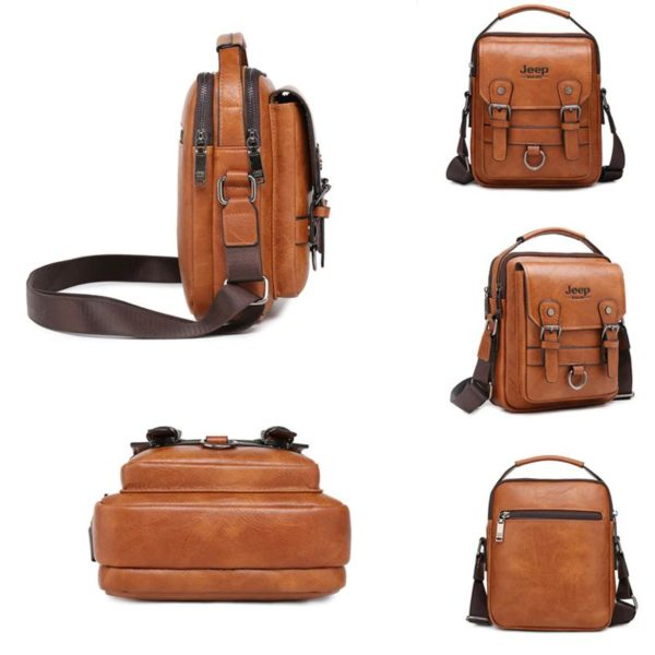 Crossbody Leather Shoulder Bag For Men - Split