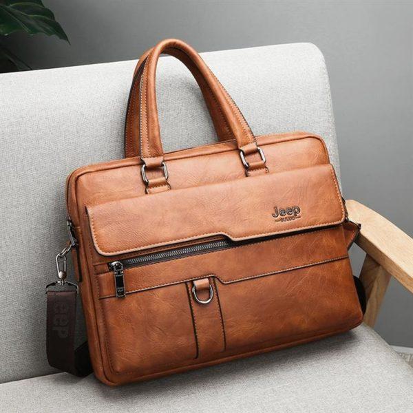 Men's Leather Business Bag - 5