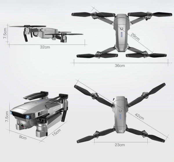Quadcopter Drone with GPS - 4K HD Camera - Size
