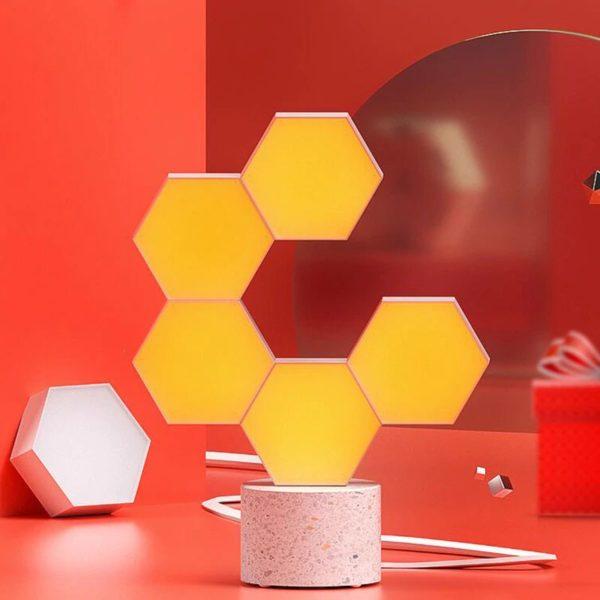 Smart Quantum Lamp – Modular Hexagonal Touch Sensitive Lighting System - Yellow