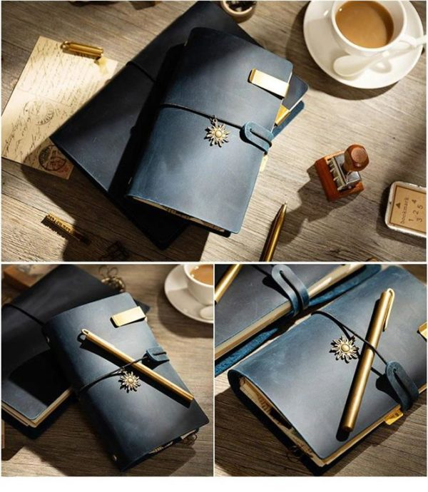 Handmade Vintage Leather Traveler Notebook - Blue