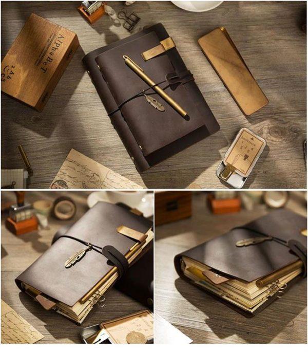 Handmade Vintage Leather Traveler Notebook - Dark Brown