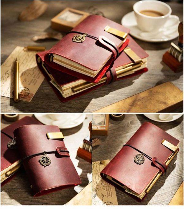 Handmade Vintage Leather Traveler Notebook - Red