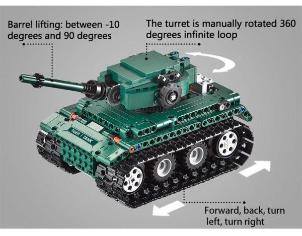 Motorized WW2 German Tiger 1 Tank - Building Blocks - 2