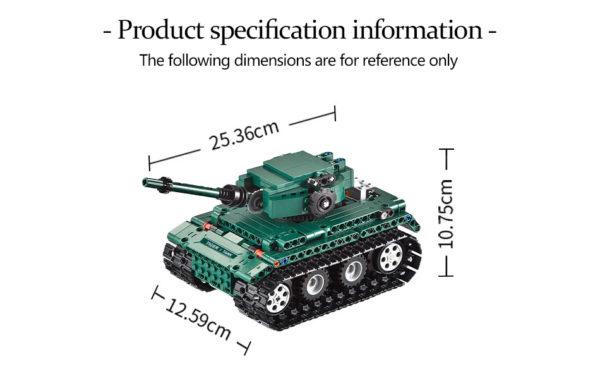 Motorized WW2 German Tiger 1 Tank - Building Blocks - Size