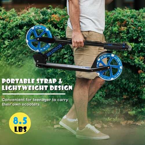 Portable Folding Sports Kick Scooter - Blue 4